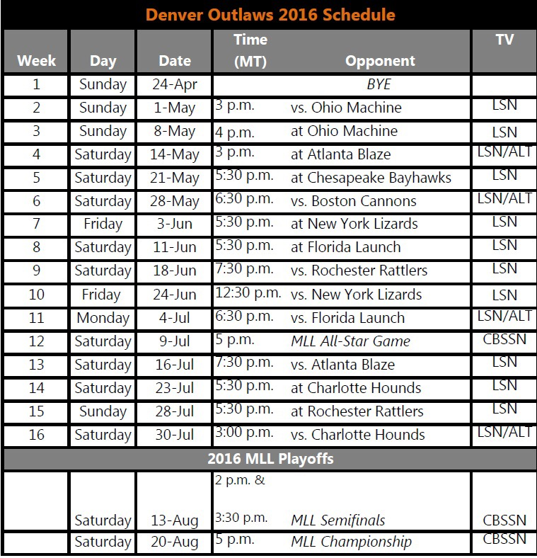 Outlaws TV 2016 Schedule